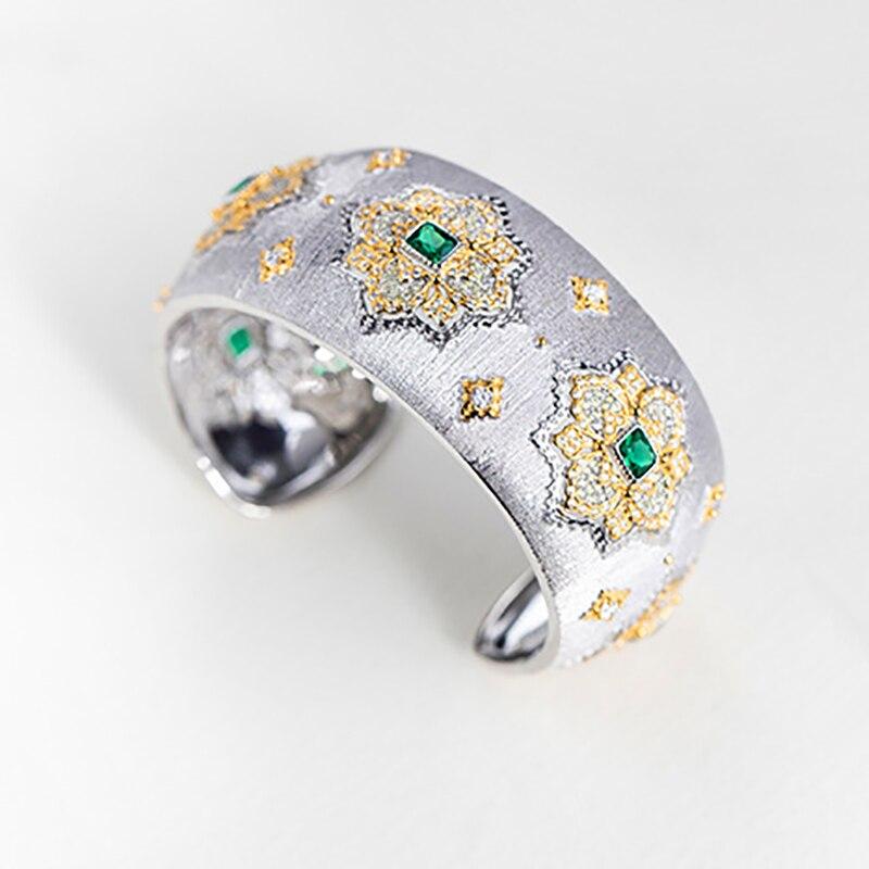 Amorita boutique925 الفضة 18K الذهب الزفاف الإسورة الذكرى غرامة مجوهرات فاخرة الإسورة