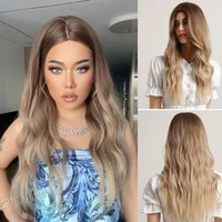 henry margu long wave ombre brown blonde synthetic wigs cosplay party wig middle part natural hair wig for women heat resistant