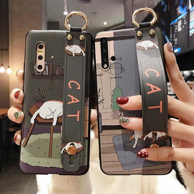 Funda para teléfono con correa de muñeca de gato de dibujos animados para Samsung Galaxy Note 8 9 10 S9 S8 S10 plus A50 A70 A40 A30 A20 A10 A60 funda con soporte bonito