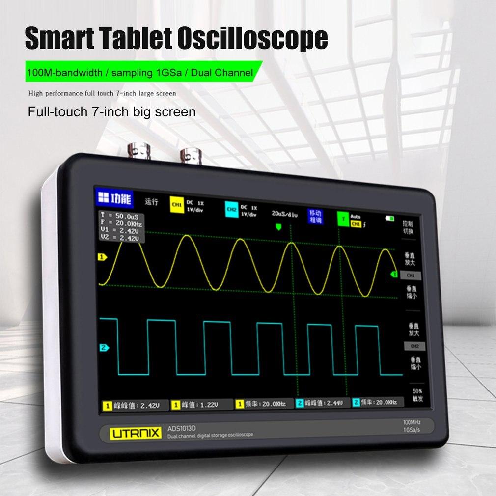 1013D Digital Oscilloscope 2 Channels 100MHz Bandwidth 1GSa/s Sampling Rate USB Osciloscopio with Color TFT LCD Touching Screen enlarge