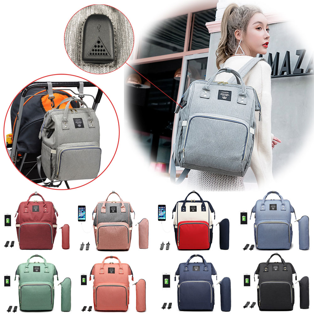Lequeen Diaper Bags for Women Backpacks Female Maternity Nappy Stroller Bag Travel Backpack with USB Mummy Nursing Bag Baby Care