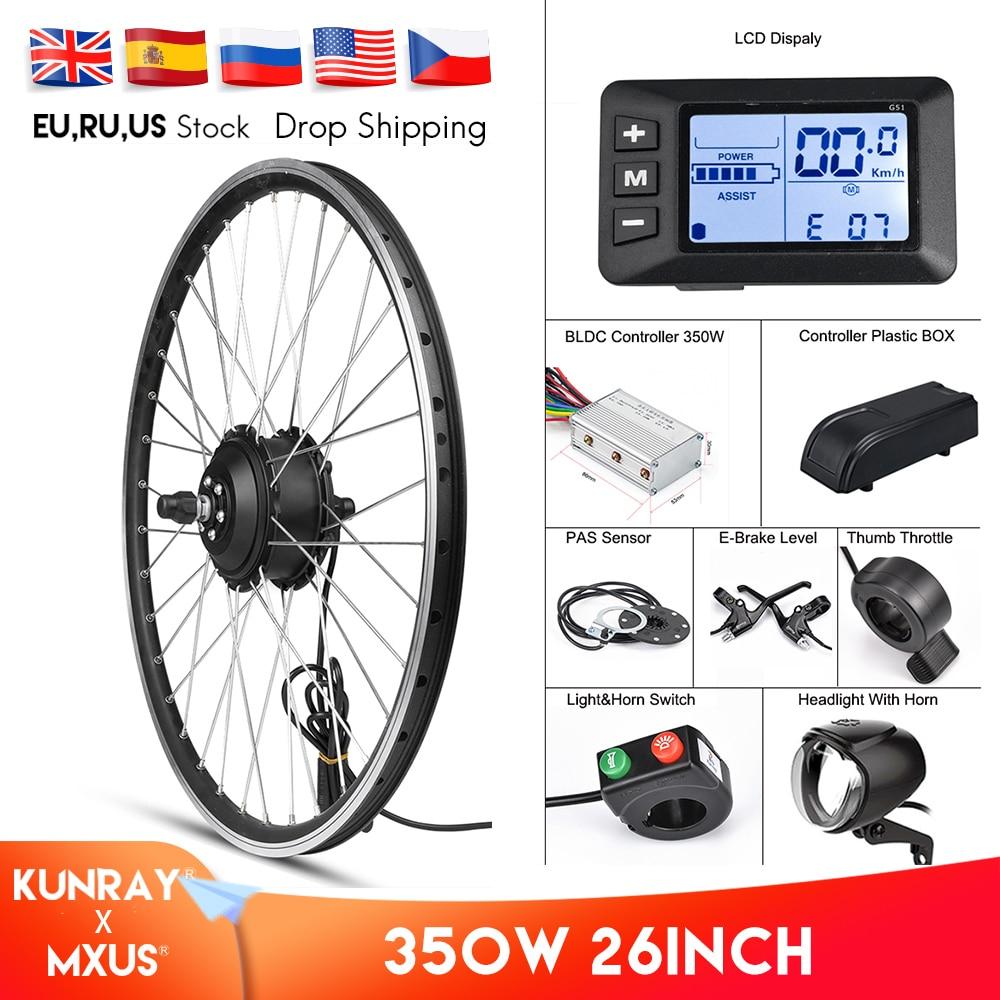 MXUS комплект для переоборудования электрического велосипеда переднего колеса мотор 350W Байк, способный преодолевать Броды комплект 48V 36V зад...