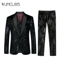 yunclos bright print 3 pieces men suits green fruits collar singer stages tuxedos suits men wedding dress party host suits