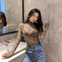sexy fashion women t shirt top pullover leopard long sleeve high neck club casual clothes turtleneck slim t shirts