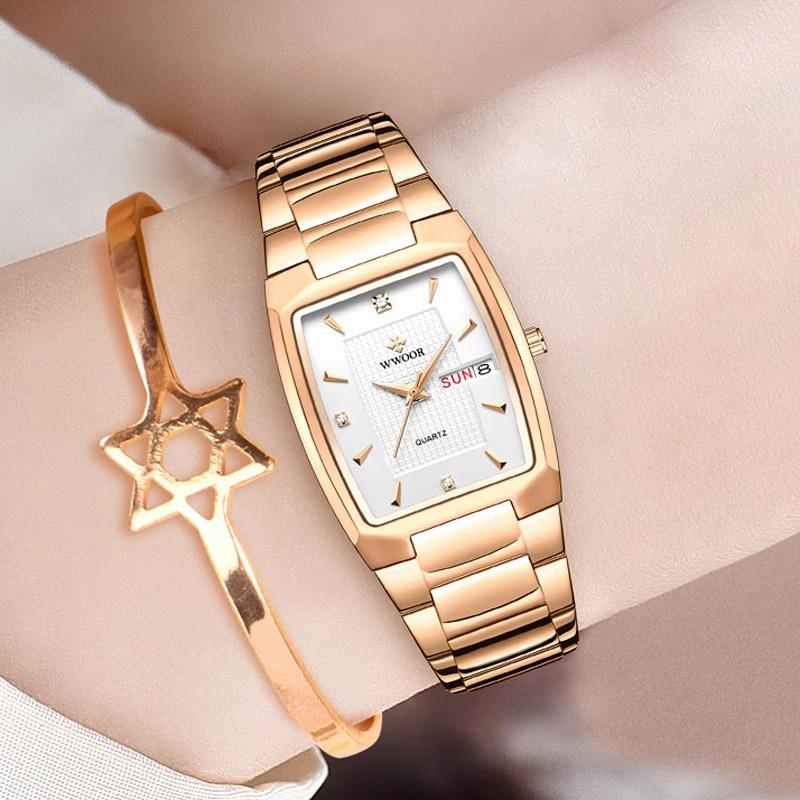 WWOOR 2021 New Fashion Watches For Womens Top Brand Luxury Square Steel Ladies Bracelet Female Quartz Waterproof Clock