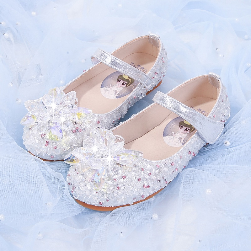 Girl Princess Shoes 2020 New Spring/Autumn Aisha leather soft-soled Korean version of Crystal Aisha children's leather shoes. enlarge