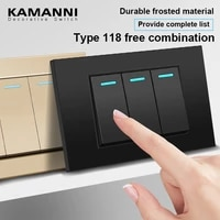 kamanni 118 type wall light switch socket matte black two gang two way switch 114x72mm ac 110 250v for lighting minimalist style