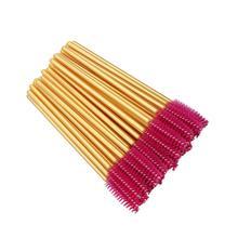 500 PCS Disposable Eyelash Brushes Mascara Wands Eye Lash Eyebrow Applicator Cosmetic Makeup Brush Tool Kits Gold Stick