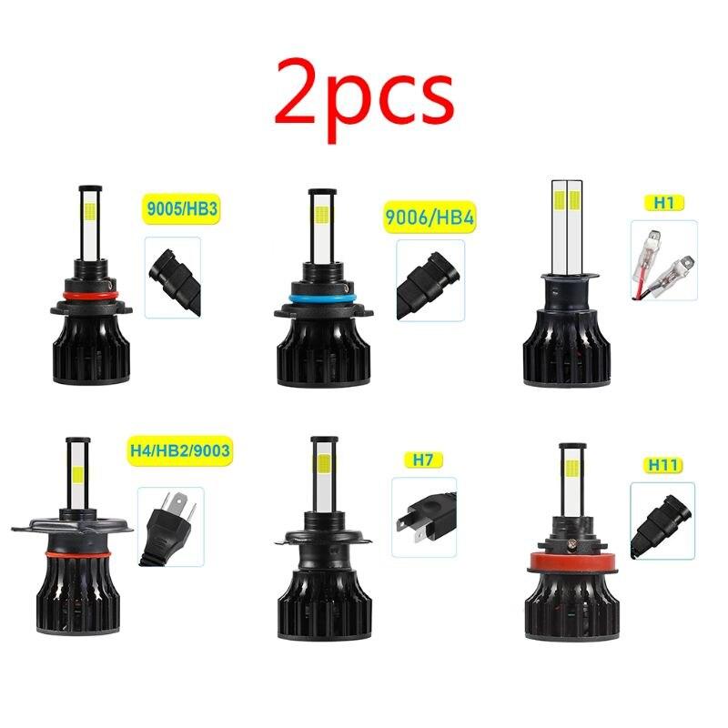 4 lados led farol lâmpadas alto ou baixo feixe lâmpadas nevoeiro luz de condução lâmpada conversão kit 6500 k branco 9005/9006/h1/h7/h11
