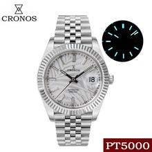 Cronos Date Luxury Men Dress Watch Leaf Dial Stainless Steel 5 Links Bracelet Copper-Nickel Platinum