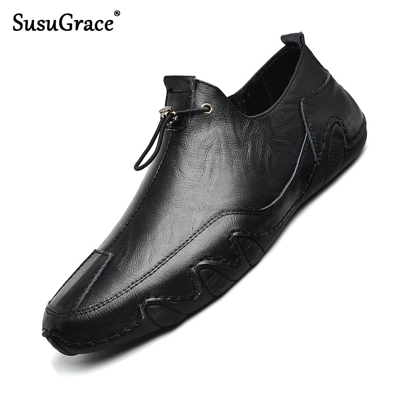 SusuGrace Casual Men Loafers Quality Leather Slip-on Flats Man Driving Shoes Black White Outdoor Lig