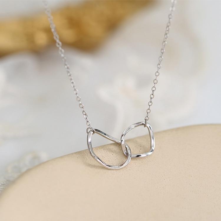 GU08-سلسلة الترقوة عبر دائرة هندسية غير منتظمة ، قلادة هدية بسيطة ومبتكرة ، للنساء ، رابط هدية للمشتري