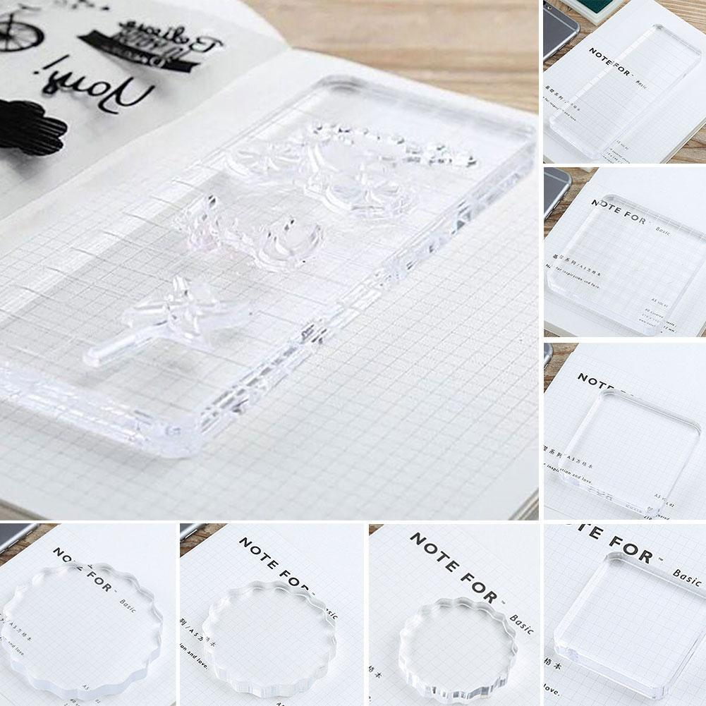 NEW Transparency Acrylic Block For DIY Transparent Decorative Clear Seal For DIY Block Scrapbooking Stamp Album Photo R2W7