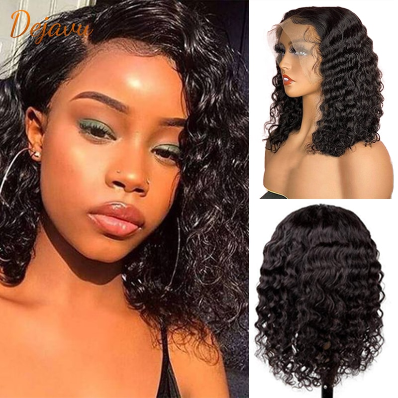 dejavu Water wave Bob Human Hair Wigs 13X4 Lace Front Brazilian Remy Hair 4x4Short Curly Bob Wigs Deep Curly lace front Bob Wig