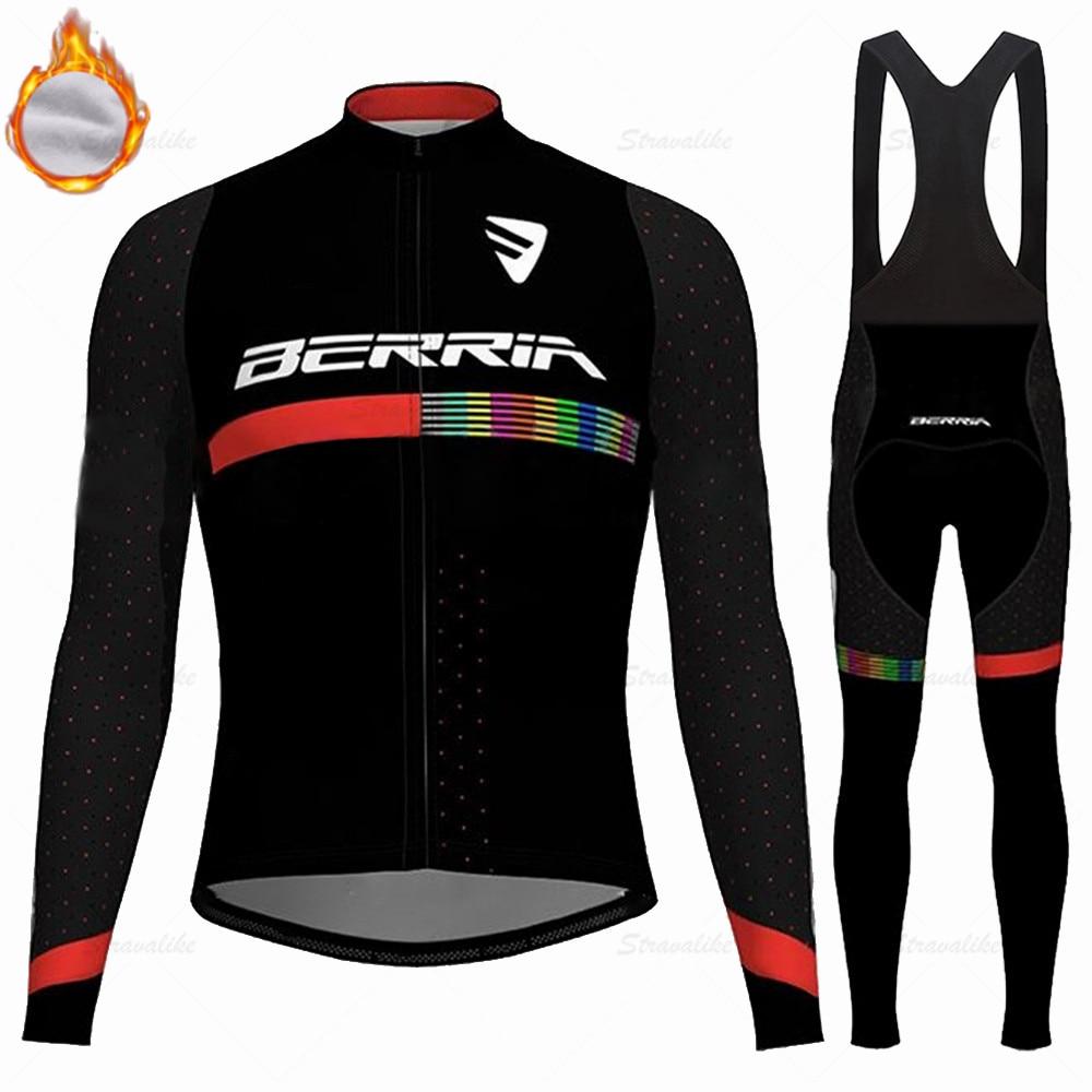 BERRIA team bike Winter cycling suit Mens long sleeve Velvet sports road bike warm clothing mtb jacket wool shirts ciclismo