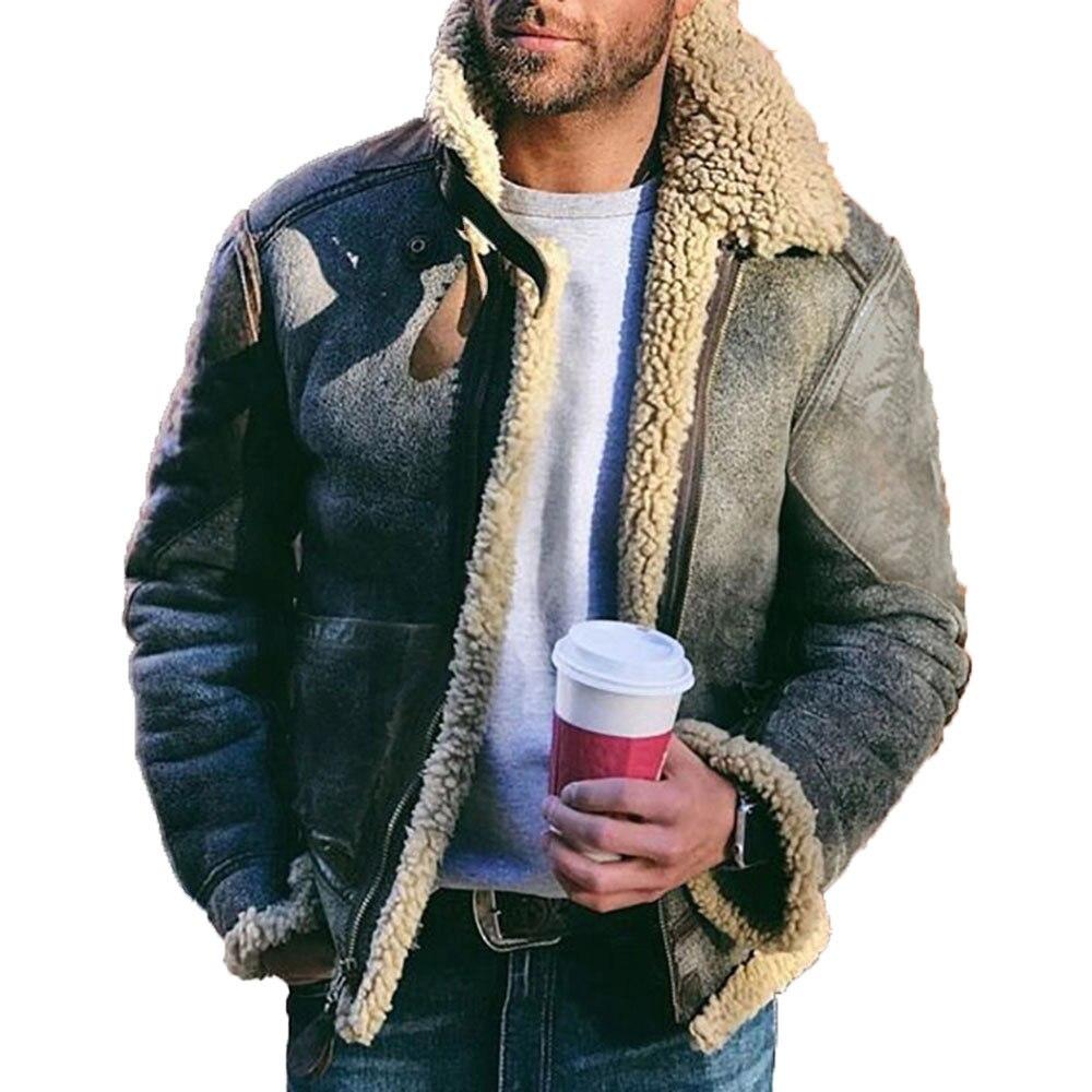Мужская куртка из искусственной кожи с плюшевым мехом, короткая мужская мотоциклетная куртка, повседневная мужская зимняя куртка с отложны...