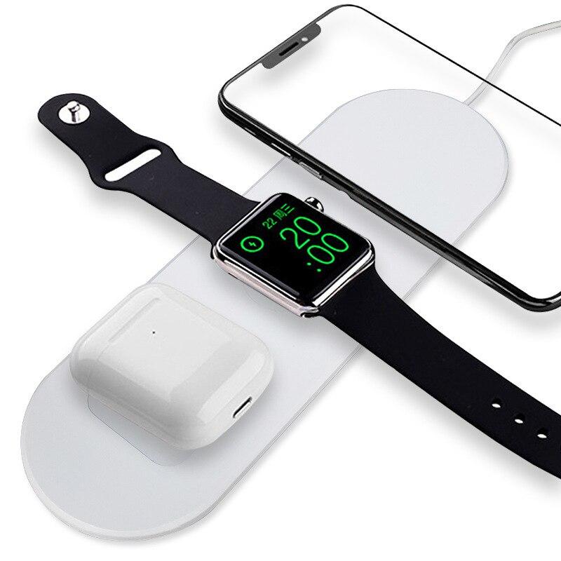 Cargador inalámbrico 3 en 1 Qi para iPhone X Xs Max XR 11pro carga rápida sin cables para Apple Watch 1 2 3 4 AirPods cargador dock
