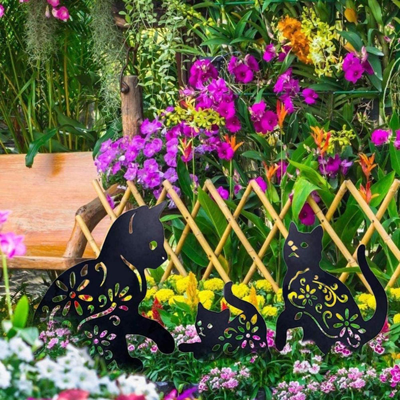2D القط الشكل إدراج الأرض ديكور الجوف نابض بالحياة هريرة معدنية تمثال الوتد للخارجية حديقة مانور الحديقة السوداء B1