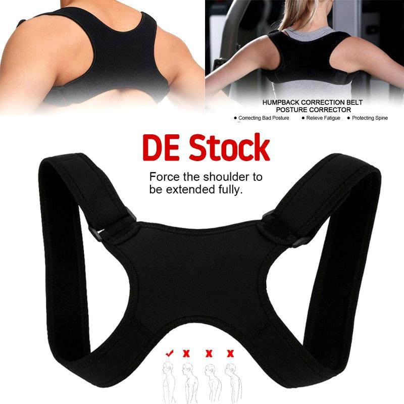 Coluna-suporte-cinto ajustável para trás postura corrector clavícula cinta volta ombro postura lombar correção para adulto unisex