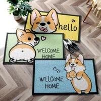 cartoon corgi door floor mat dirty resistant foot mat door carpet entry door foot mat household porch non slip carpet rugs