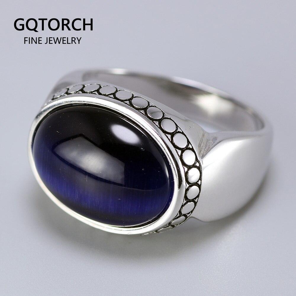 Echt Reine 925 Silber Schmuck Blau Tiger Augen Ringe Für Männer Und Frauen Oval Form Natürliche Stein Einfache Design Türkei schmuck
