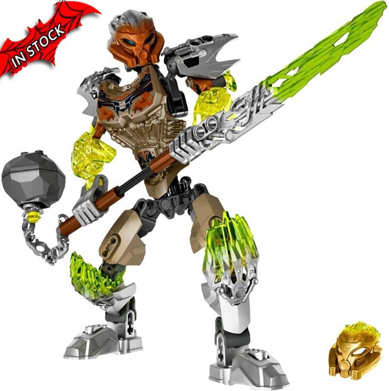 610-2 BionicleMask de luz Bionicle Pohatu piedra tierra guardián edificio bloque Compatible con 71306 juguetes de ladrillo