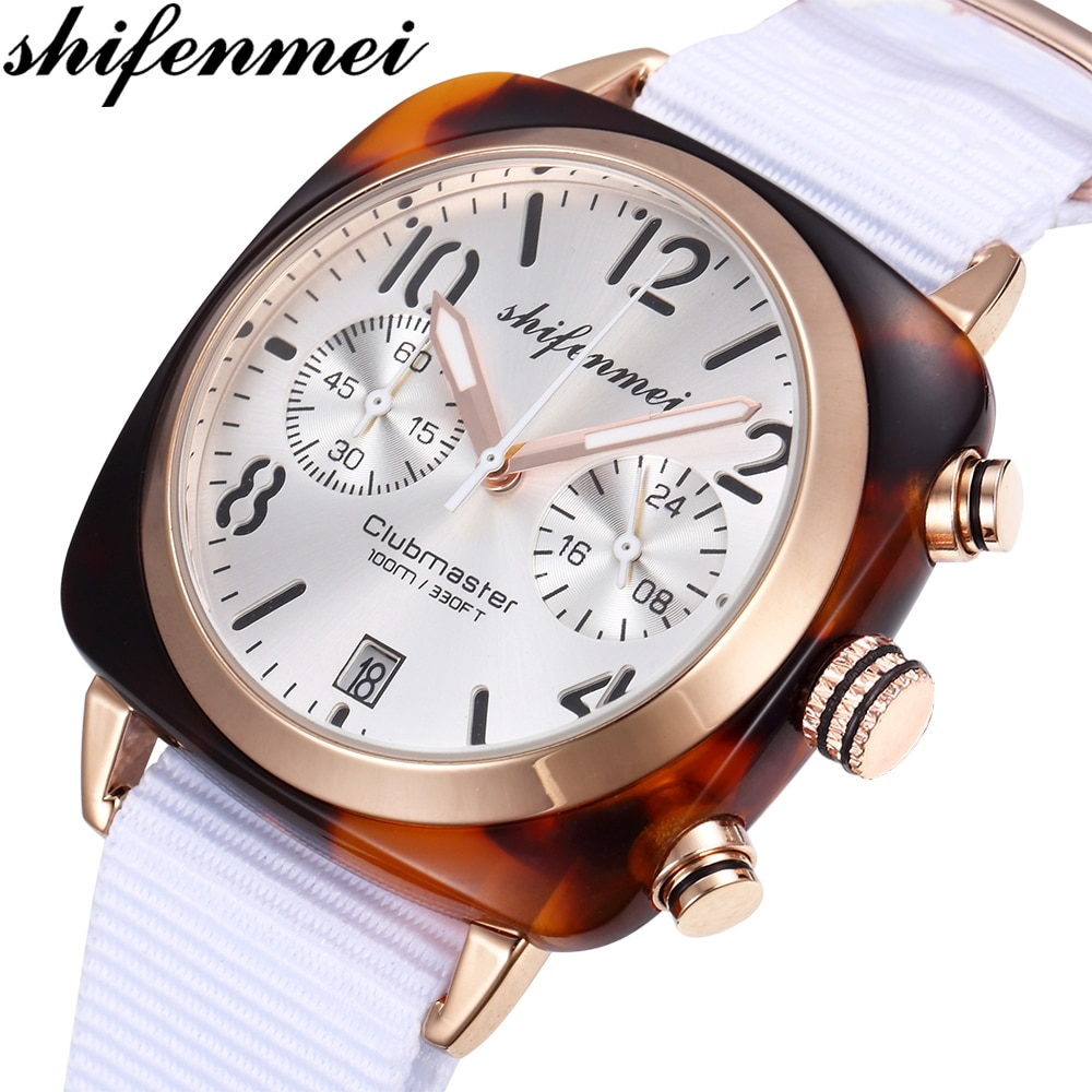 Relojes de cuarzo de mujer deportivos de marca de lujo Shifenmei reloj de pulsera con correa de nailon resistente al agua reloj femenino