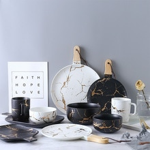 Gold Marble Glazes Ceramic Party Tableware Set Porcelain Breakfast Plates Dishes Noodle Bowl Coffee Mug Soup Bowl For Drop Ship