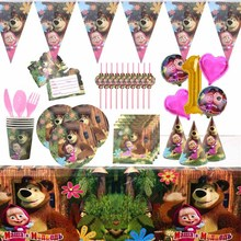 Masha Theme Party Supplies Paper Cup Plate Napkin Cap Straw Kids Birthday Party Disposable Baby Show