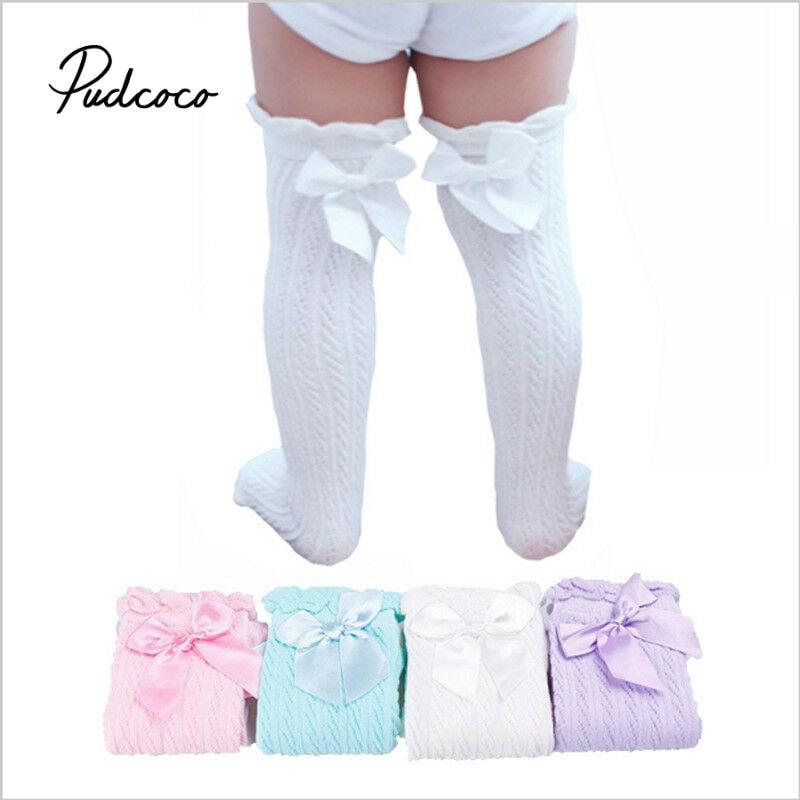 Pudcoco medias para niñas pequeñas rodilla para saltos-calcetines altos encaje infantil medias de Bowknot princesa algodón largo tubo botines 28cm 38cm