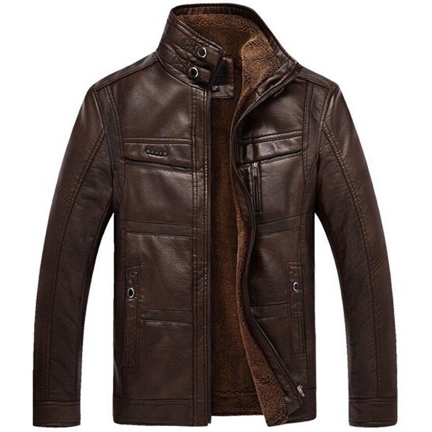 Leather Jacket Men Coats 2020 Brand High Quality PU Outerwear Men Business Winter Faux Fur Male Jacket Fleece