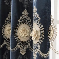 european style living room bedroom thickened shade relief embroidered curtain cloth embroidered yarn rope embroidered curtain