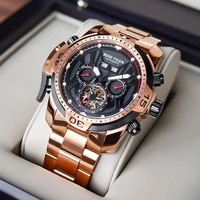 reef tigerrt sport men watch complicated dial with year month perpetual calendar rose gold black dial bracelet watches rga3532