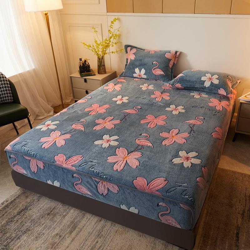 25Bed الكتان مرونة المجهزة ورقة المنزل المرجان الصوف واحد مزدوج غطاء مرتبة غطاء سرير شتاء دافئ 90x200 180x200 سنتيمتر المفرش