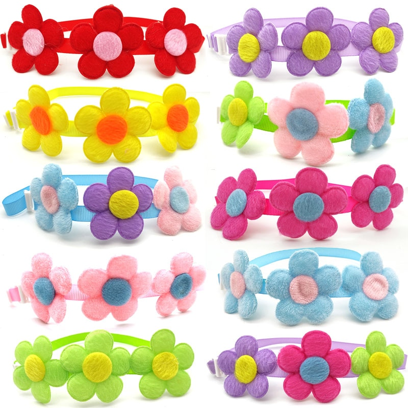 50-100-pcs-new-pets-dog-bow-ties-necktie-spring-flower-style-dogs-pet-grooming-accessories-cute-dogs-pets-collar-bowtie-supplies