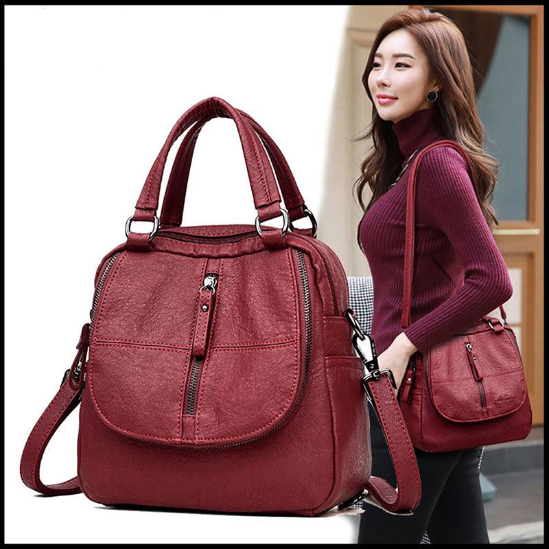 Multifunctional Black Red Women Backpacks Fashion Shoulder Crossbody Bags for Girl Bookbags Solid Sm