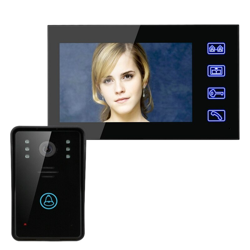 FULL-7Inch Video Door Phone Intercom Doorbell Press Button Remote Unlock Night Vision Security CCTV Camera Home Surveillance(EU