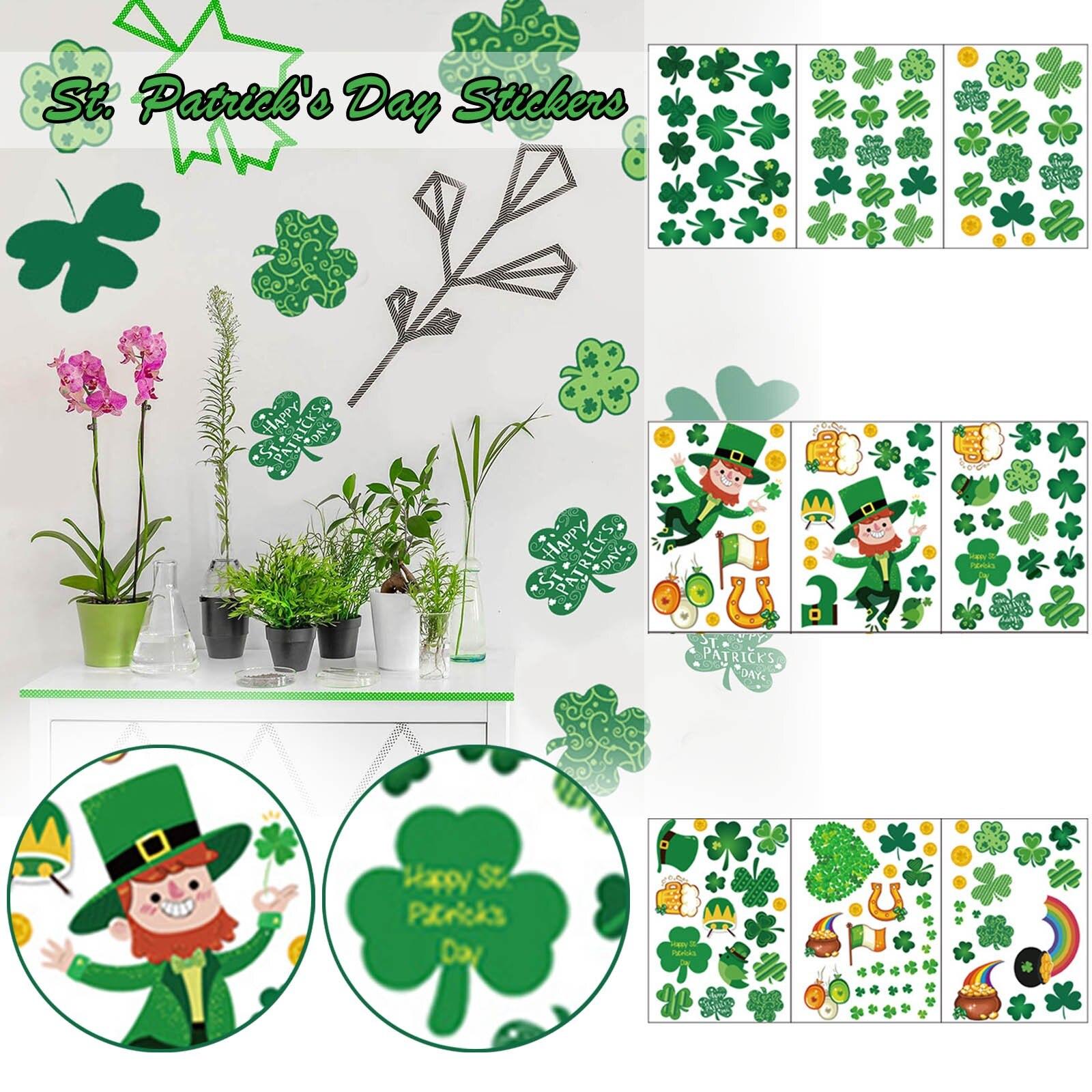 Stickers St. Patrick's Day Window Glass Wall Sticker Party Decoration Sticker Wall Stickers Home Decor наклейки