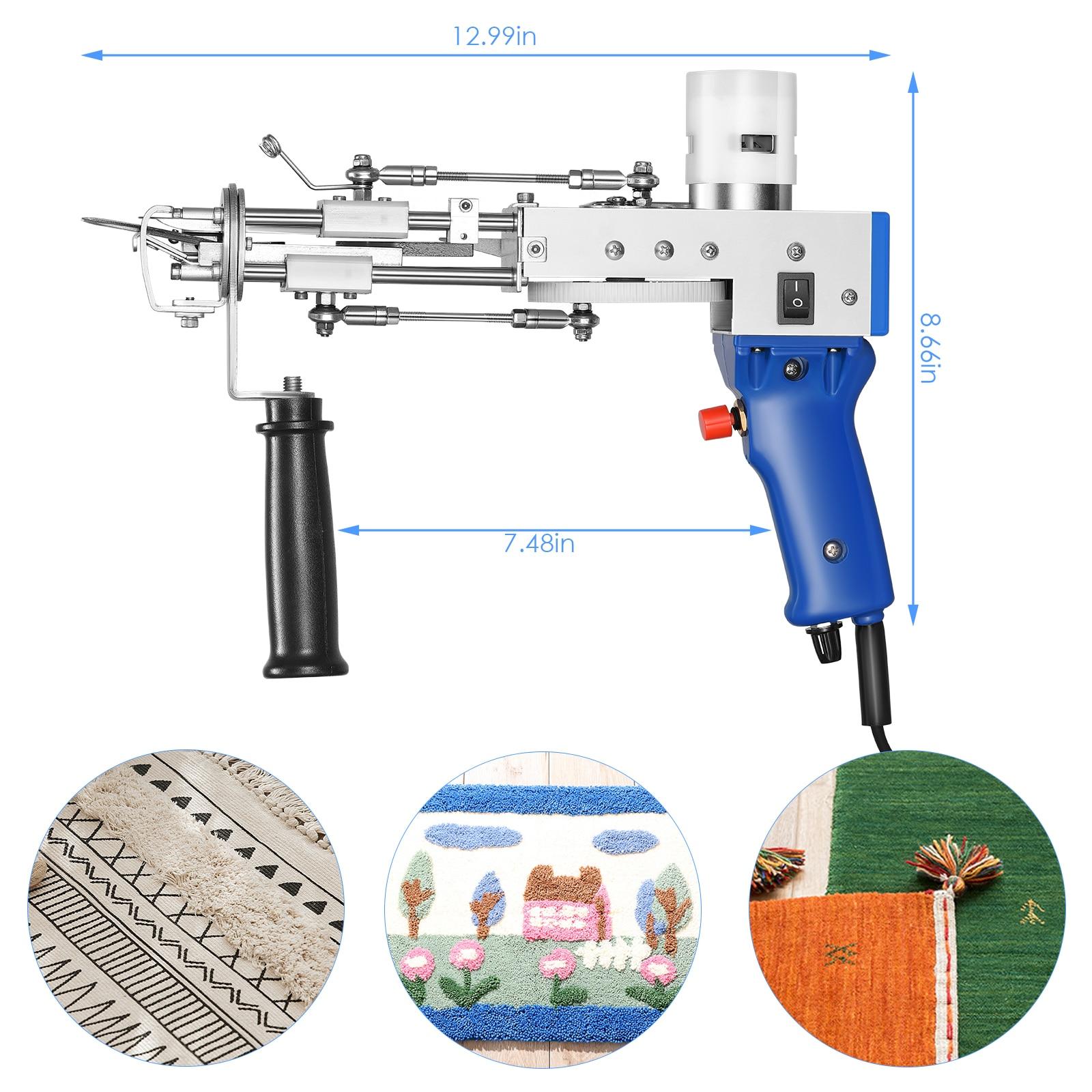2021 New2 IN 1 Electric Carpet Tufting Gun Can Do Both Cut Pile and Loop Pile Hand Gun Carpet Weaving Flocking Machines EU/US/UK enlarge