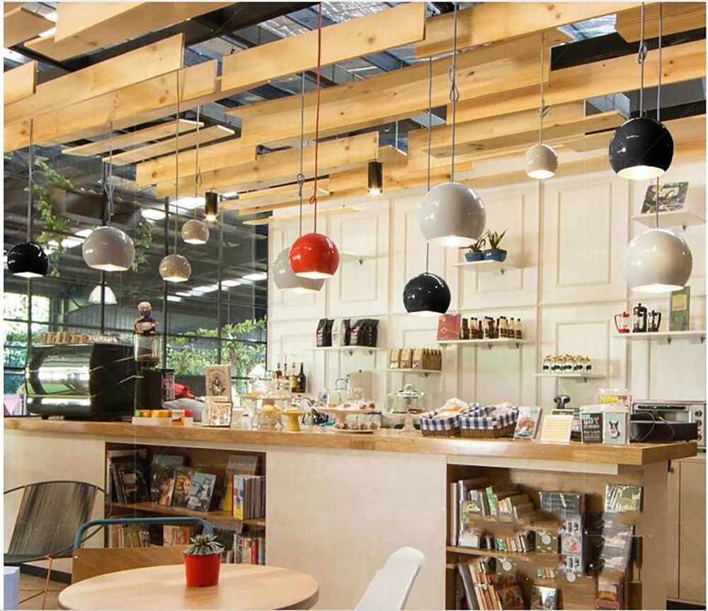 Nordic Glass Ball Pendant Lights Modern Hanging Lamp for Living Room Black/White Pendant Lamp