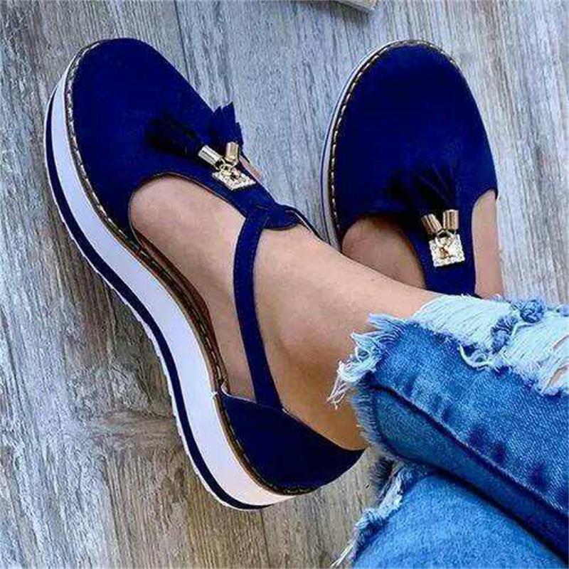 Zapatos planos de punta redonda con borla para mujer, novedad de verano primavera 2020, zapatos casuales con plataforma para mujer, zapatos vulcanizados bonitos para fiesta