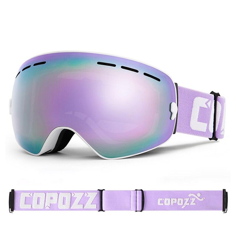 Luxury Purple Ski Goggles Aldult Double Layer Skiing Eyewear Winter Outdoor Anti-Fog Safety Ski Goggles Women Snowboard Glasses