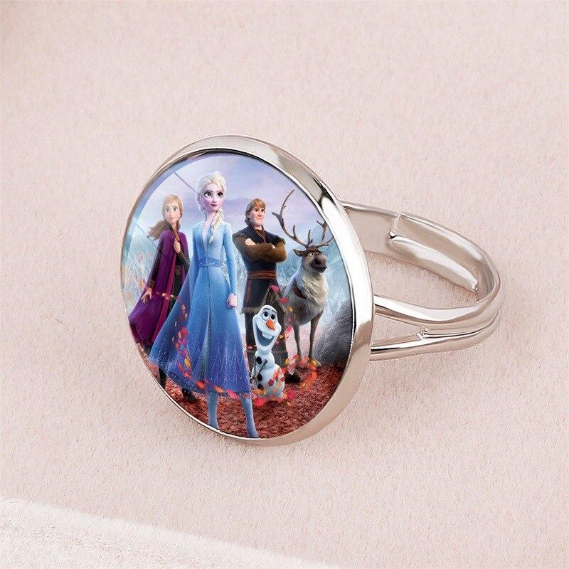 Disney congelado 2 anel imagem dos desenhos animados elsa princesa anna jóias abertura ajustável crianças pulseira presentes para meninas