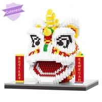 kawaii room decor china spring festival lion dance animal head model diy mini diamond blocks traditi onal new year children toys