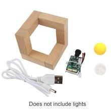 3D Printed Moon Lamp Bedroom Gifts Multifunction Sensitive Home Wood Bracket Light Board USB Chargin