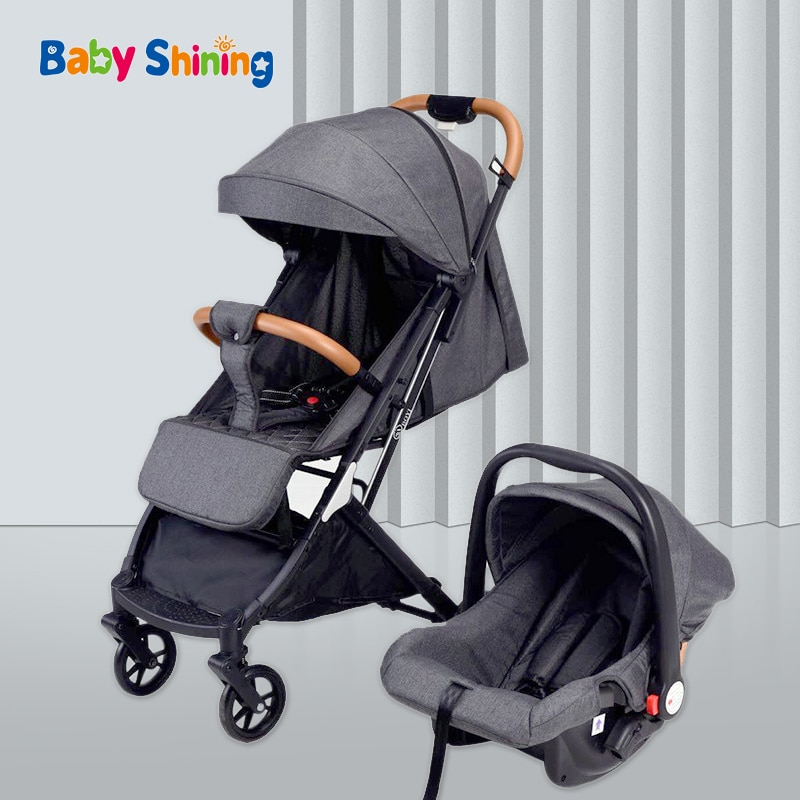 Baby Cart With Basket Newborn Stroller 3 In 1 High Landscape Cart Can Sit And Lie Down Portable Folding Pushchair With Car-Seat