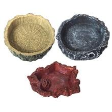 Pet Reptile Feeder Bowl Basin Resin Non-Toxic Food Water Pot Turtle Tortoise Scorpion Lizard Crabs for Pets Feeding Tray x