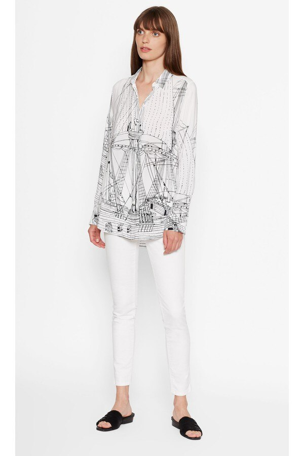 Nuevas blusas EQ 100% de seda real para mujer, blusas de manga larga, estampado de velero