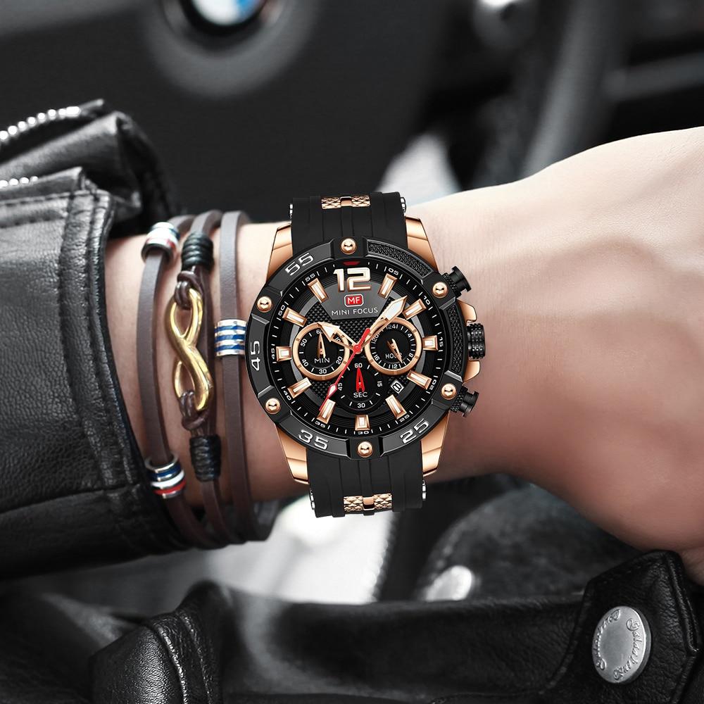 Reloj MINI FOCUS de lujo para hombre, reloj deportivo a la moda resistente al agua para hombre, reloj de pulsera de cuarzo negro de silicona, reloj Masculino 2020