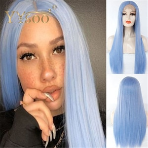 YYsoo 13x4 Long Silky Straight Natural Hairline Light Blue Synthetic Lace Front Wigs Girls Heat Resistant Fiber Wig Daily Use